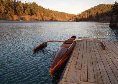 big river mendocino redwood outrigger at catch a canoe